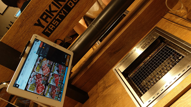 焼肉ライク タブレットで注文。ご飯おかわり無料
